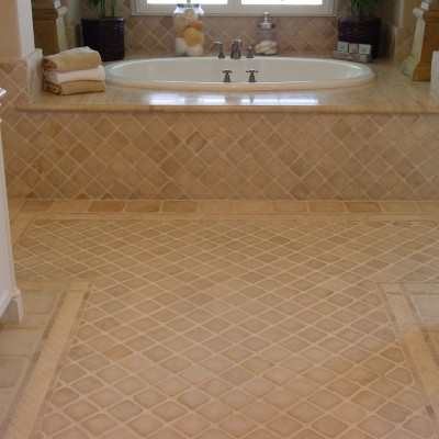 Tumbled marble mixed mosaic bathroom