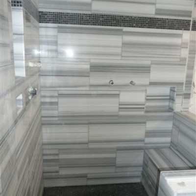 Vein cut marble shower