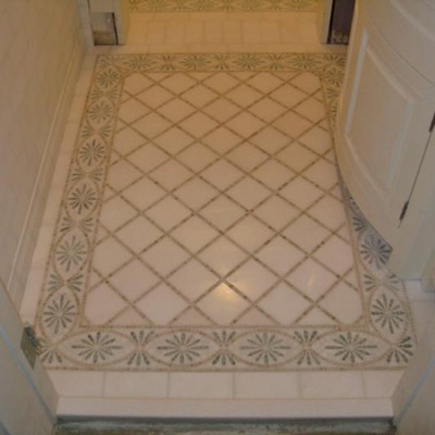 White marble with mosaic liner floor