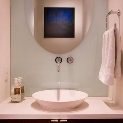 White caeserstone vanity