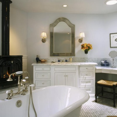 White carrera mosaic bathroom