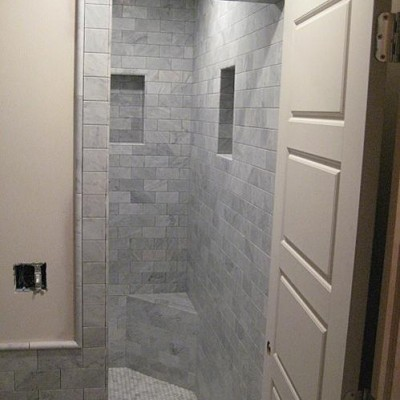 White carrera subway bathroom