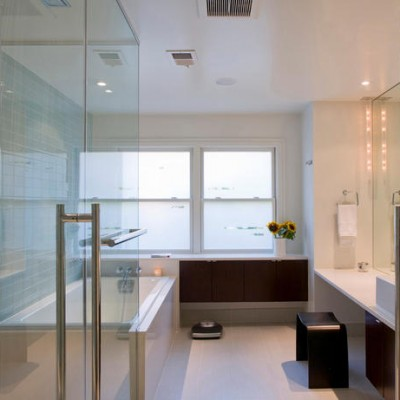 White ceaserstone counters glass subway shower