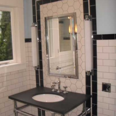 White hexagon bathroom