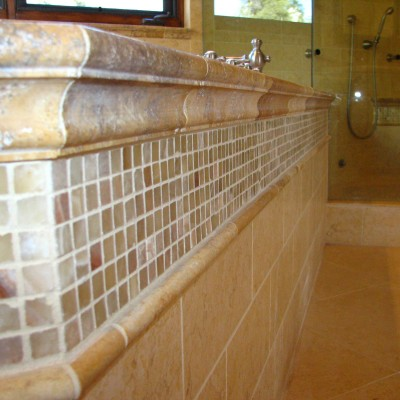 Yellow travertine with honey onyx mosaic bathroom