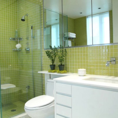 Yellow villiglass mosaic bathroom