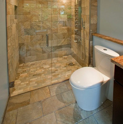 Sandstone tile bathroom