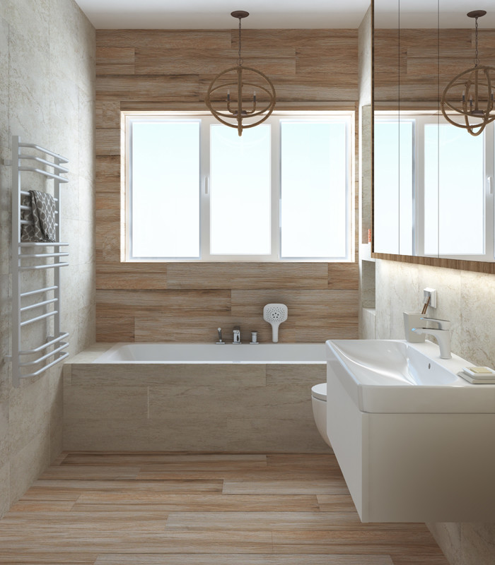 Stretch-Bond Bathroom Wall Tile Ideas