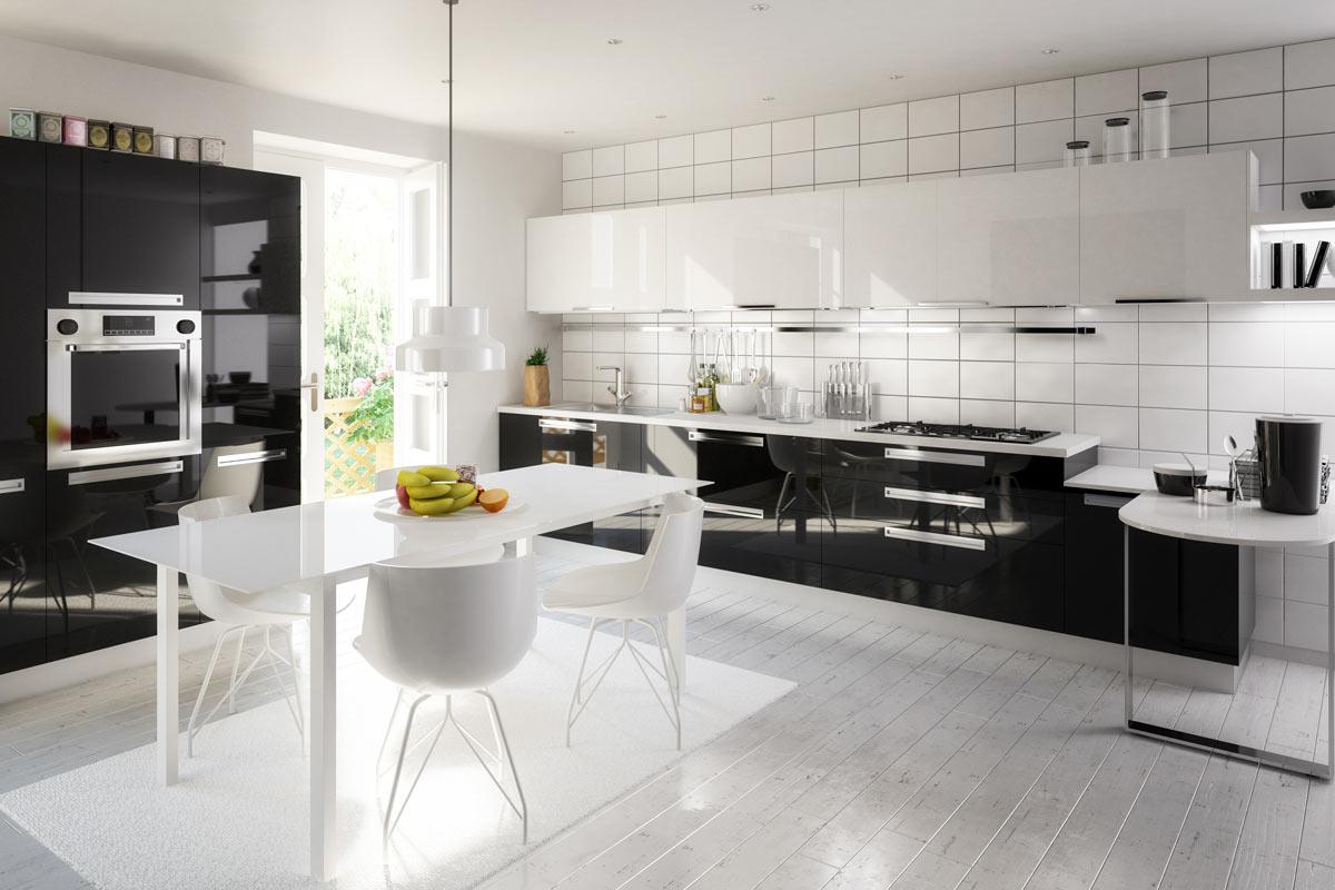 White Subway Tile Kitchen Flooring & A Bold Pattern