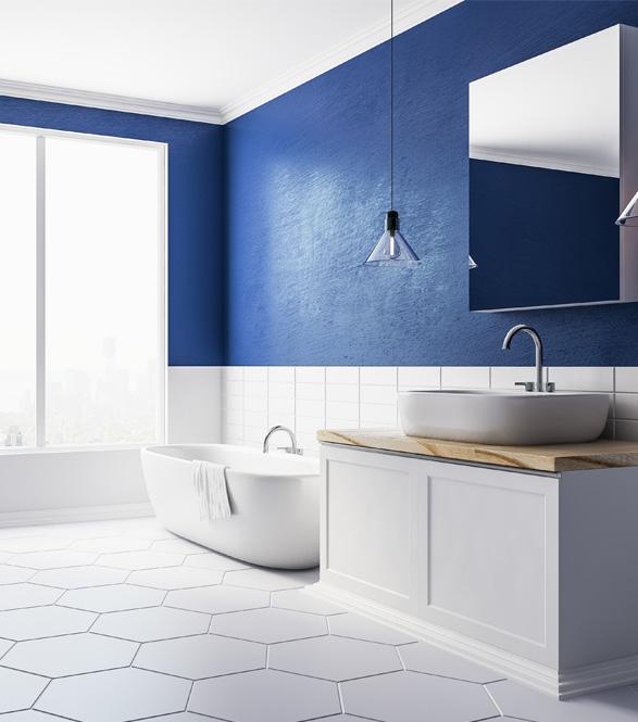 Ceramic Tile Flooring with white Hexagon Design